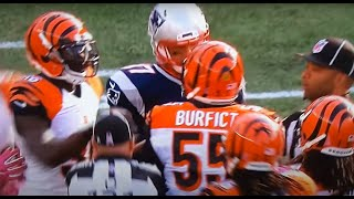 Gronk gets in Burfict's grill. Are you mad, Bro?