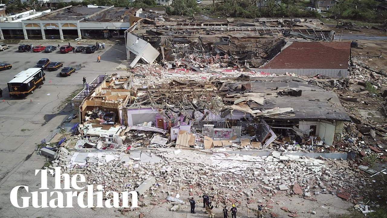Aerial footage shows scale of destruction after tornado in Dayton, Ohio –  video