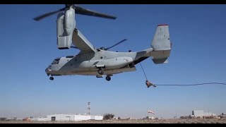 U.S. Marines Execute Fast-Rope Insertion from MV-22 Osprey - Slide for Life!