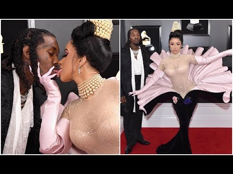 Cardi B and Offset Kiss At Red Carpet Grammy Awards