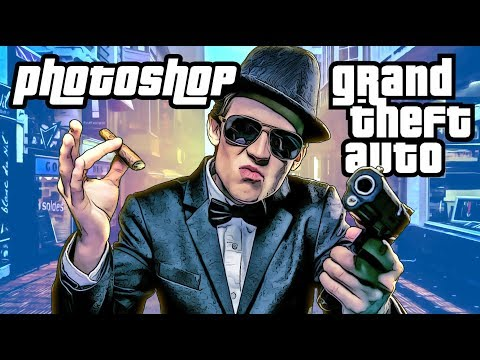 Photoshop: How To Create Classic Grand Theft Auto (GTA) Cover Art Graphics!