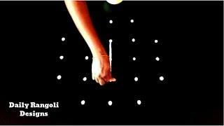 Very Very Simple Muggulu 5X3X3 Dots | Varalakshmi Vratham Padi Kolam | Daily Rangoli Designs #1162