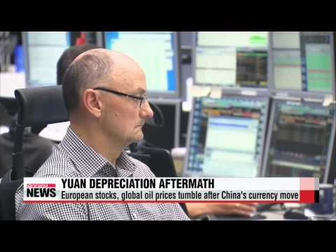 European stocks, global oil prices tumble after China′s currency move   유럽증시, 국제