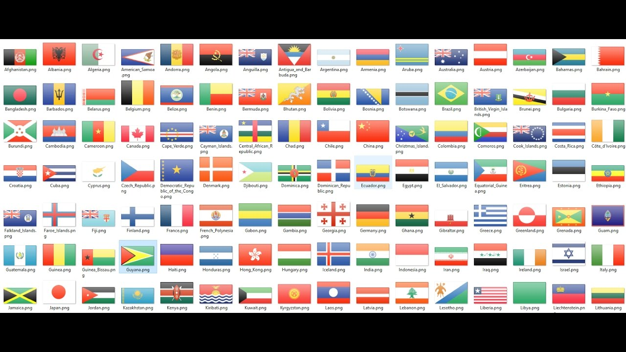 Flags Of All Countries The World With Names And Nice Music
