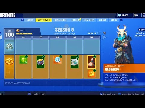 SEASON 5 BATTLE PASS LEVEL 100 UNLOCKED! HOW TO GET BATTLE PASS TIER 100 MAX LEVEL SEASON 5!