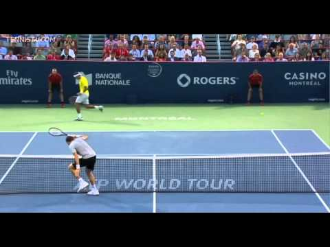 Raonic touches the net against Del Potro