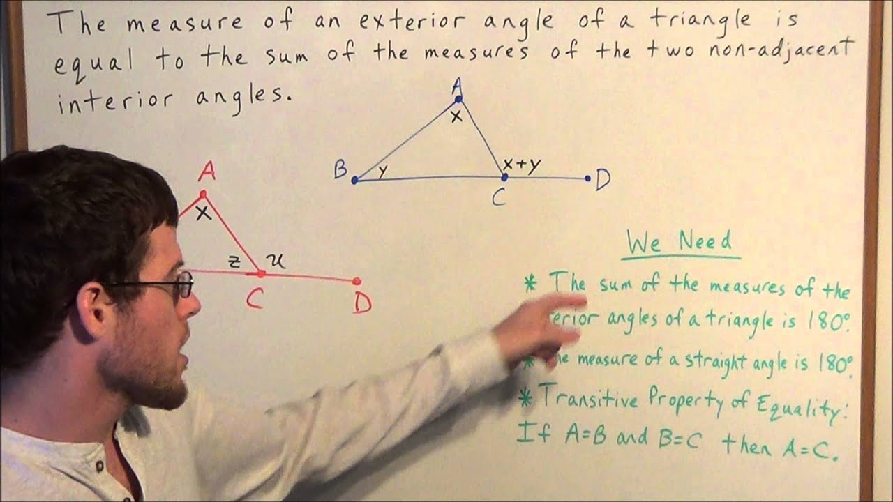 Exterior Angles Proof Of Theorem Geometry Youtube