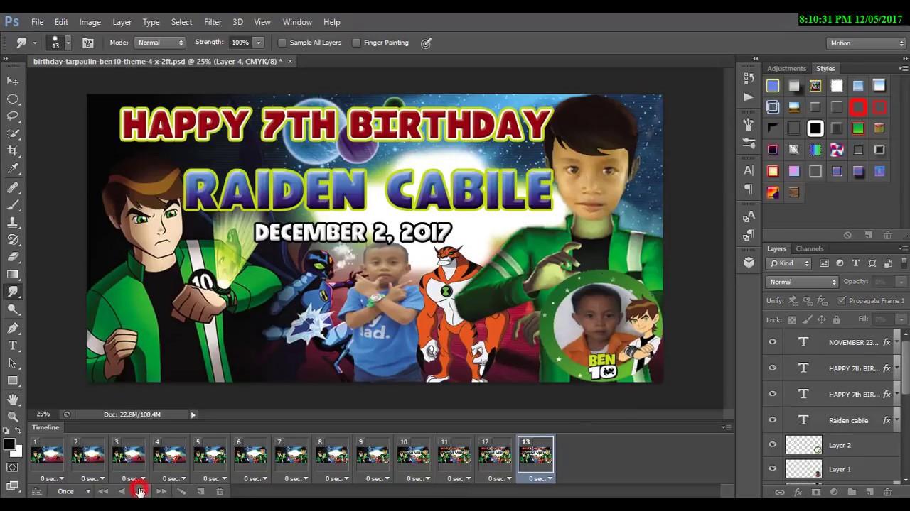 Animation Tutorial Using Tarpaulin Birthday Design And Save To Gif On Photoshop