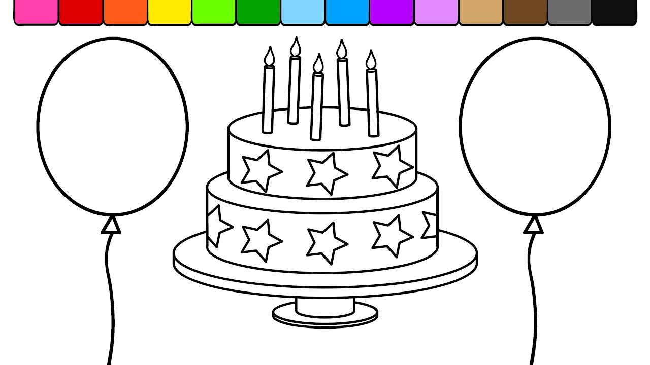 Learn Colors For Kids And Color This Star Birthday Cake Balloon Coloring Page Youtube
