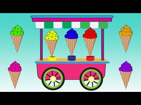 Learn Cone Ice Cream Colors Video For Children || Cartoon For Kids thumbnail