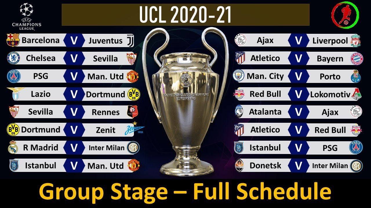UEFA Champions League Fixtures 2020-21: Group Stage Full ...