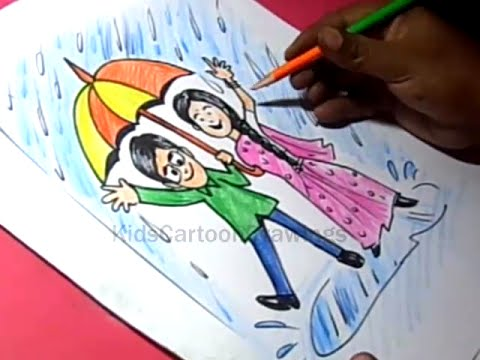 How to Draw Rainy Season Drawing for Kids step by step ... Rainy Day Drawing Competition
