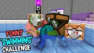Block School Vs Monster School: SWIMMING CHALLENGE: Best Minecraft Animation