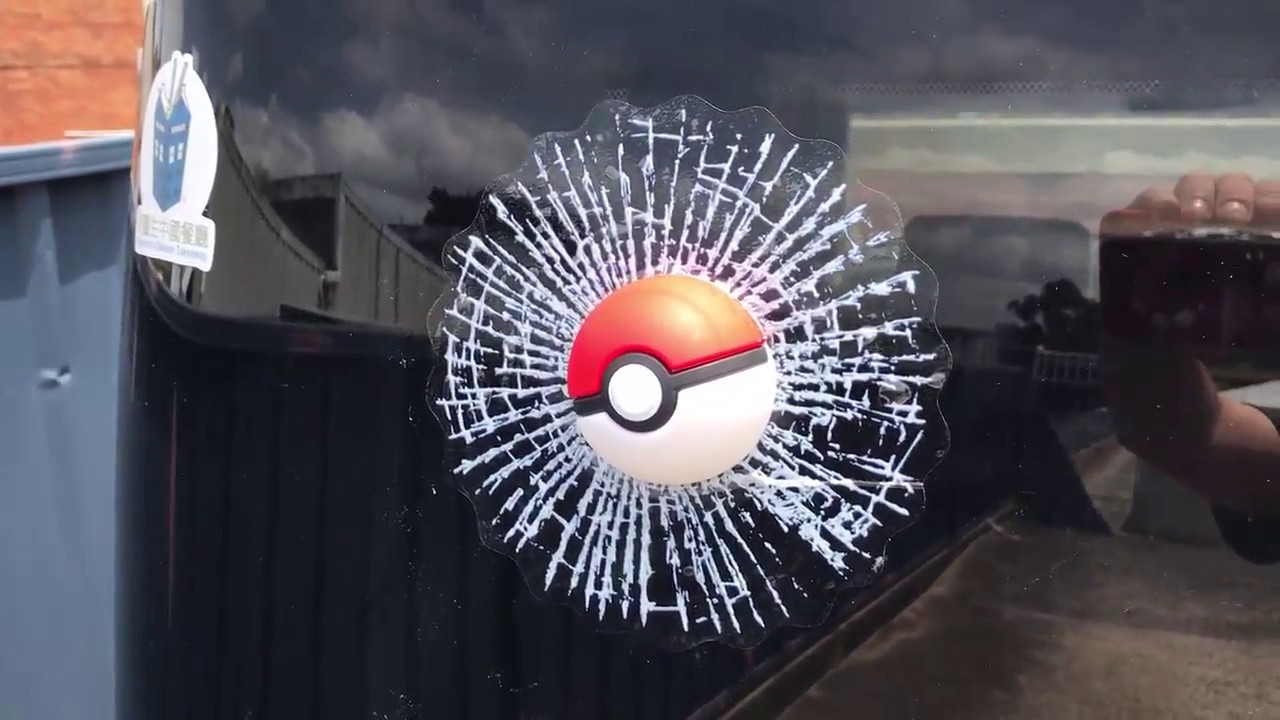 Pokemon go 3d car window crack decal fun sticker decoration