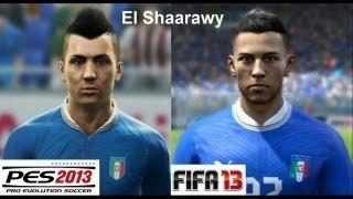 PES 2013 vs FIFA 13 Face Comparison ITALY (National Team)