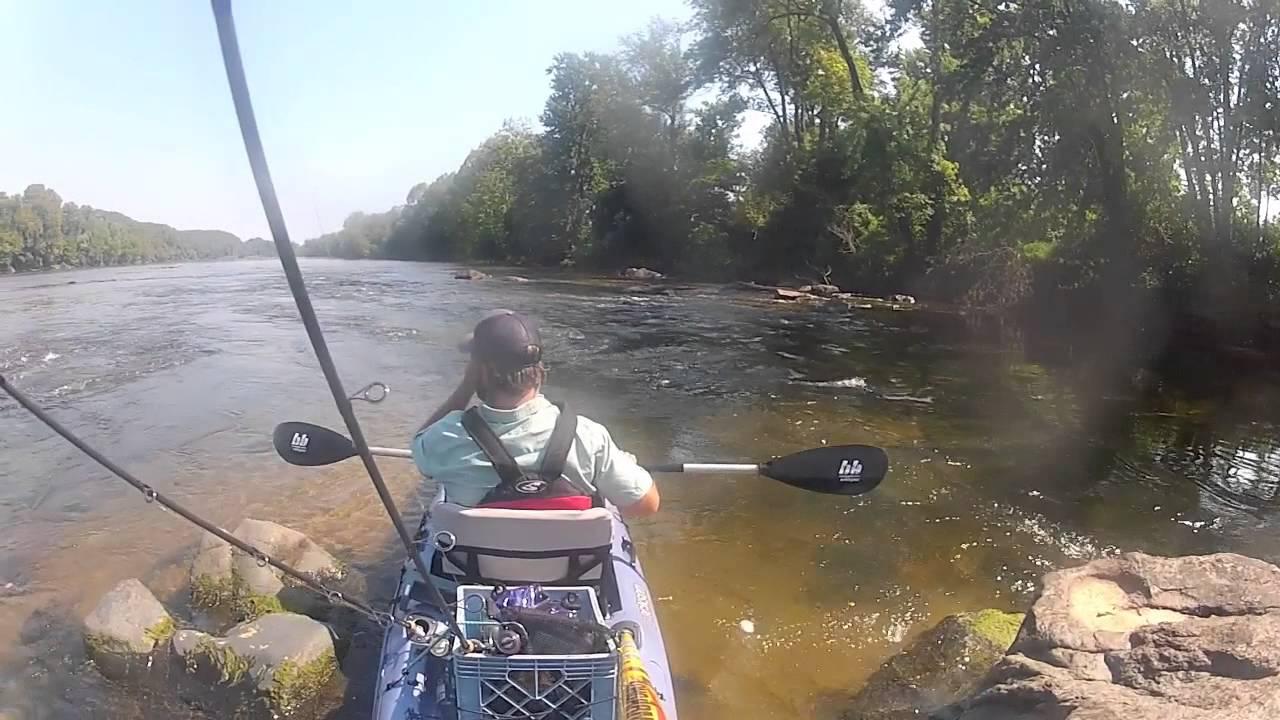Kayak fishing for james river smallmouth bass youtube for James river fishing