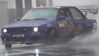 BMWs drifting with heavy rain. Portugal Drift Championship. Vila Real. 2019-09-21.