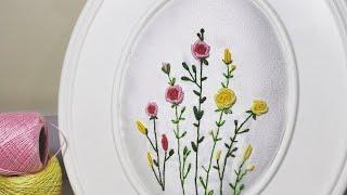 طريقة التطريز داخل برواز الصور بشكل جميل  rococo stitsh hand embroidery