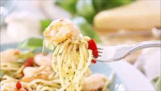 Pesto Pasta with Grilled Shrimp and Roasted Red Peppers