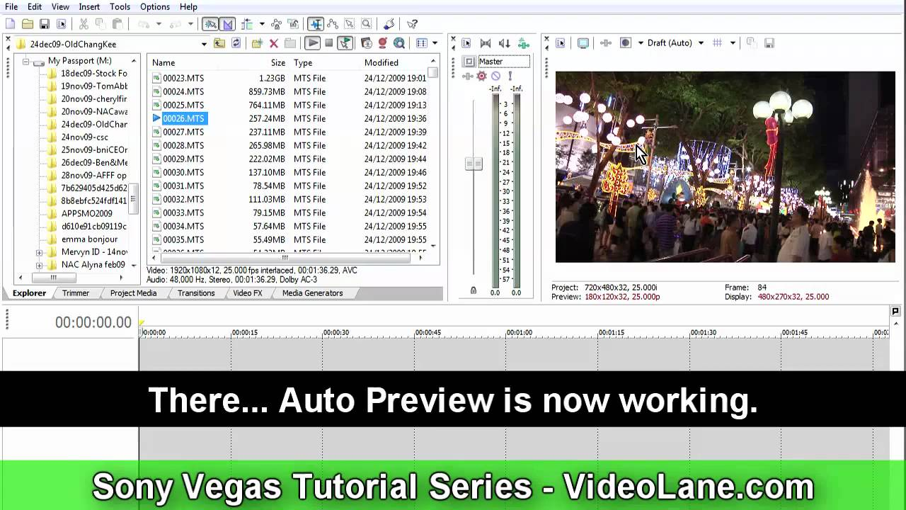 how to get video preview on sony vegas