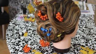 прически.плетение косы из 4 прядей с лентой
