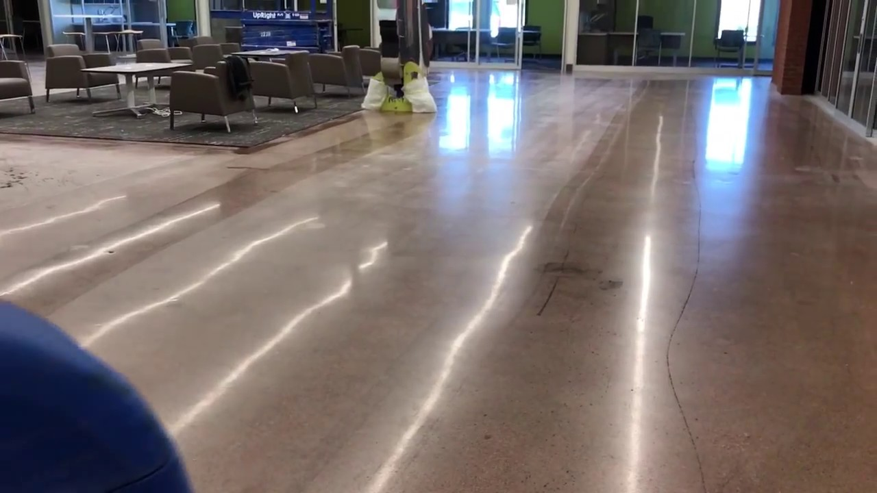 Construction Cleaning Concrete Floors With Auto Scrubber