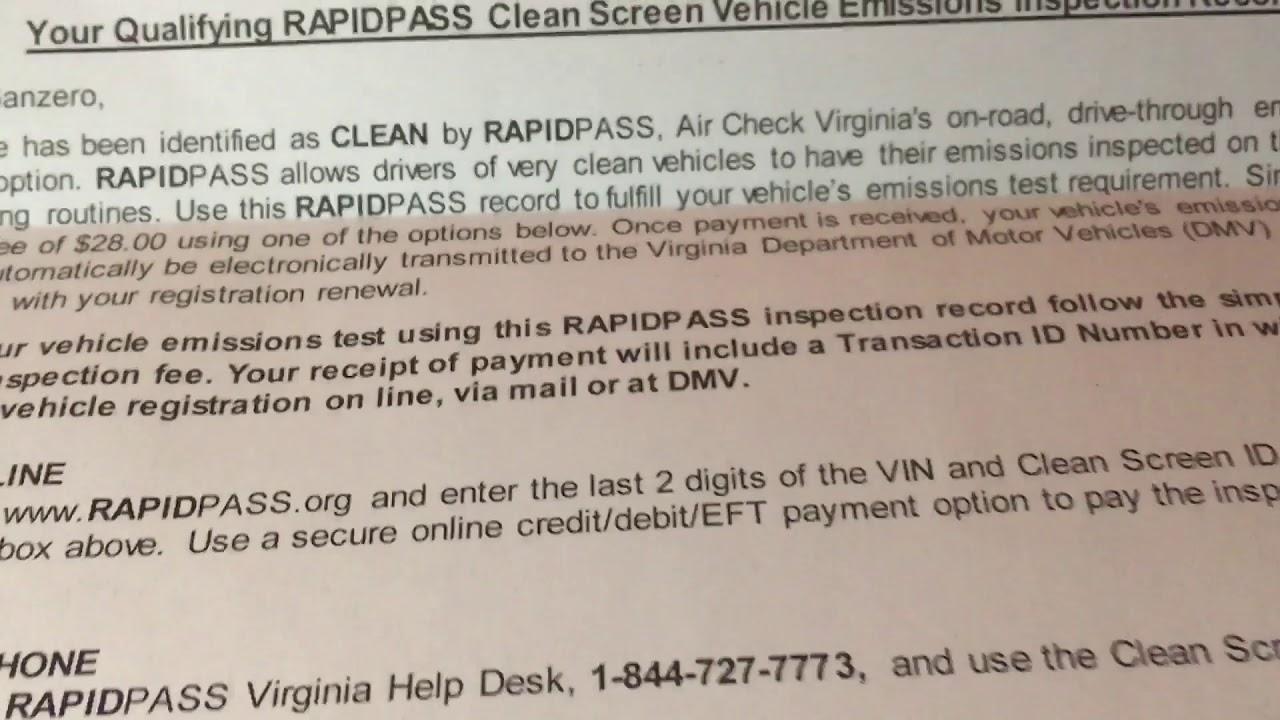 Virginia rapid pass instruction, emission Virginia