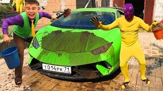 Mr. Joe in CAR WASH on Dirty Lamborghini Huracan VS Yellow Man smeared with Dirt Car