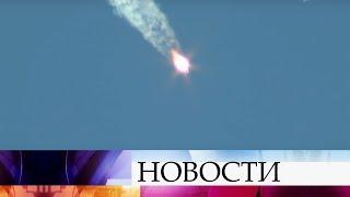 Экипаж МКС приземлился в степи в Казахстане.