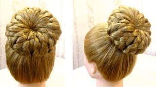 Прическа пучок с косами. Hairstyle with cushion. Видео урок 6