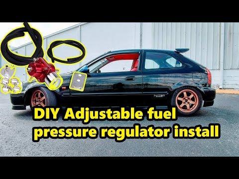 DIY D16 honda civic turbo how to install Adjustable fuel pressure regulator DIY Also have AC again!