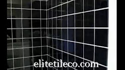 Black ceramic  tile  shower area
