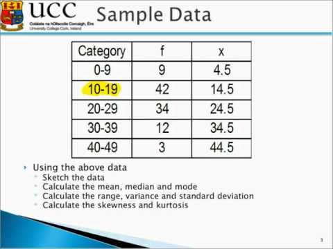 calculate the measures of central tendency dispersion and skew for your data 100 part 2 / basic tools of research: sampling, measurement, distributions, and descriptive statistics chapter 8 describing data: measures of central tendency and dispersion i.