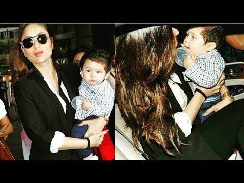 Taimur ali Khan looks superduper cute with mom Kareena Kapoor Khan at Mumbai Airport recently !😊