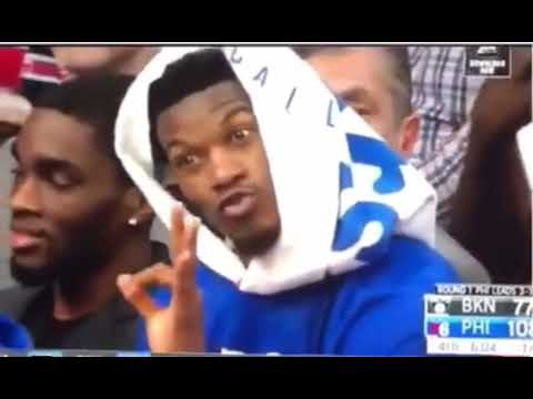 Jimmy Butler Seen On Bench Telling Ben Simmons To Shoot The Three Youtube