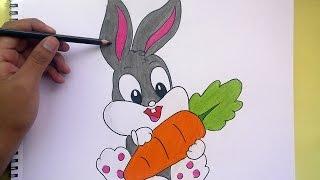 Dibujando y pintando a Bugs Bunny (Looney Tunes)-  Drawing and painting Bugs Bunny ( Looney Tunes )