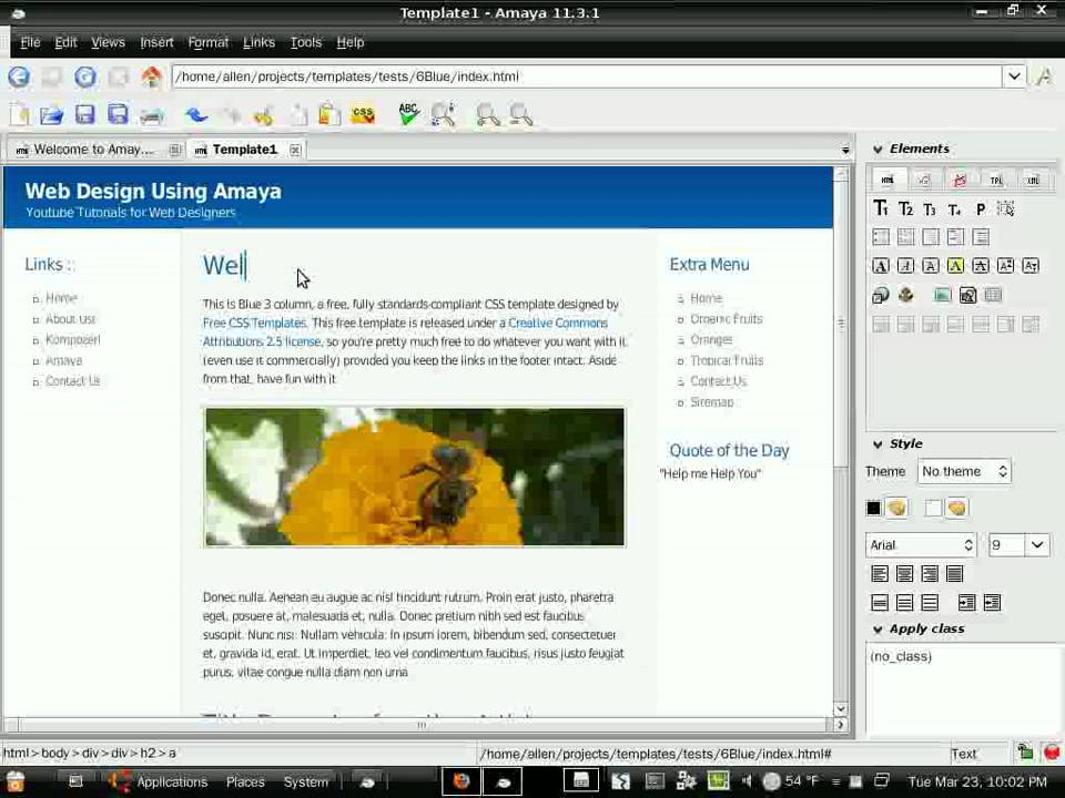 Building A Web Site Using Amaya Editor And Free Templates