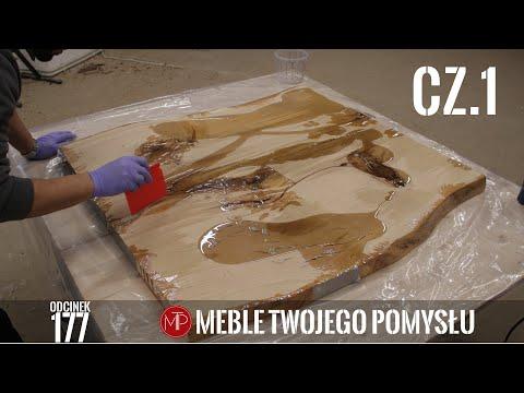 Cz 1 Stolik kawowy z monolitu dębowego gruntowanie żywicą epoksydową / epoxy coffee table
