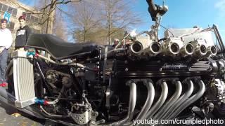 V12 Lamborghini motor custom motorcycle build. The builder of this ...