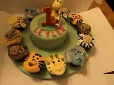 Zoo animals small cake and cupcakes YouTube