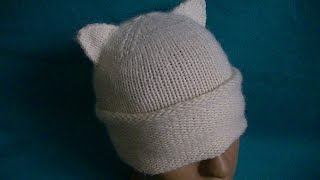 Вязание шапки с ушками
