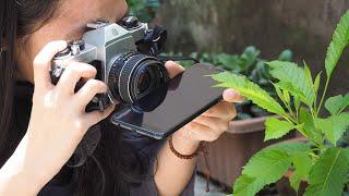 Sử dụng màn hình điện thoại để chụp ảnh phản chiếu