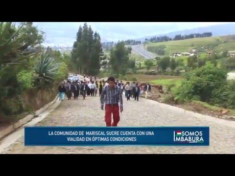 Inauguración del empedrado y cunetas en la comunidad de Mariscal Sucre Prefectura de Imbabura