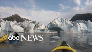 Kayakers get up-close look at collapsing Alaska glacier   ABC News