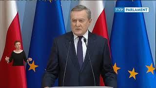 Konferencja premiera Mateusza Morawieckiego oraz ministrów Piotra Glińskiego i Łukasza Szumowskiego.