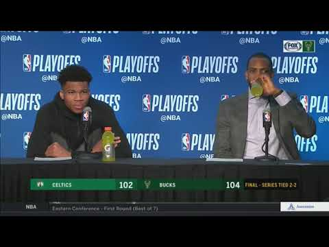 Giannis Antetokounmpo and Khris Middleton following Game 4 win
