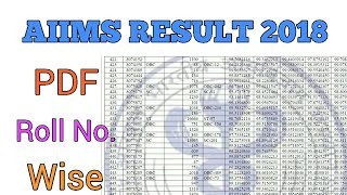 PDF OF AIIMS RESULT 2018 || ROLL NO. WISE