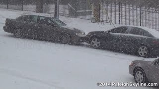 02/12/2014 Raleigh, NC Snow wrecks and sliding cars - RaleighSkyline com