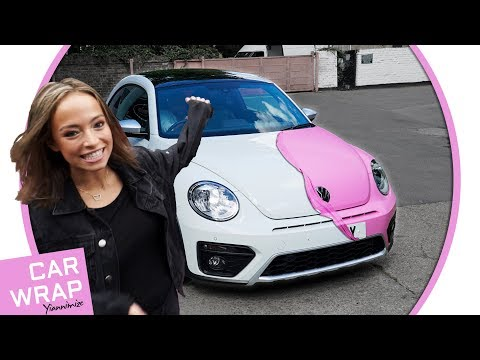 VW Beetle wrapped in Satin Bubblegum Pink - Best Birthday Present Ever