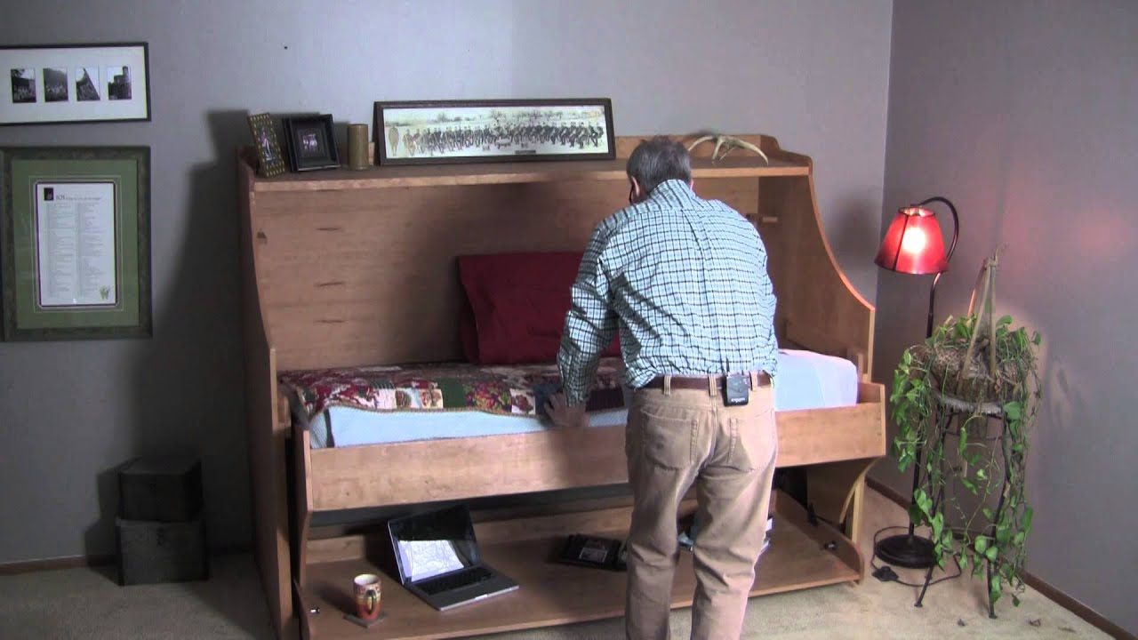 Convertible BedDesk Combo YouTube - Table converts to bed